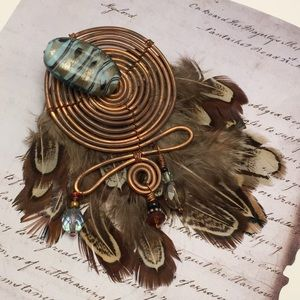 Copper Spiral Statement Pin
